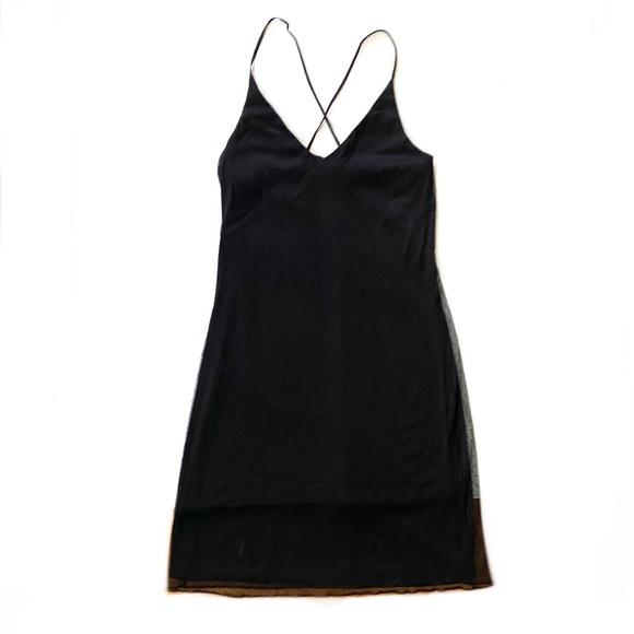 90s Vintage goth polka dot little black mesh dress